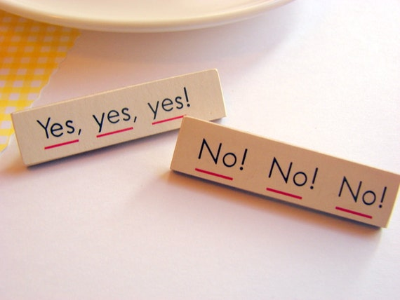 Yes Yes Yes Pin Set - No No No - Medium Paper and Wood Decoupage Brooches - Two - Vintage Conversation Word Text - One of a Kind