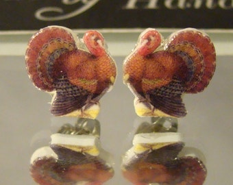 Thanksgiving Turkey cut out stud earrings