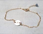 Monogram Gold Charm Bracelet - Personalized Letter Charm Bracelet - Gemstone Charm