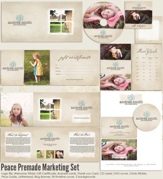 peace premade photography marketing set templates