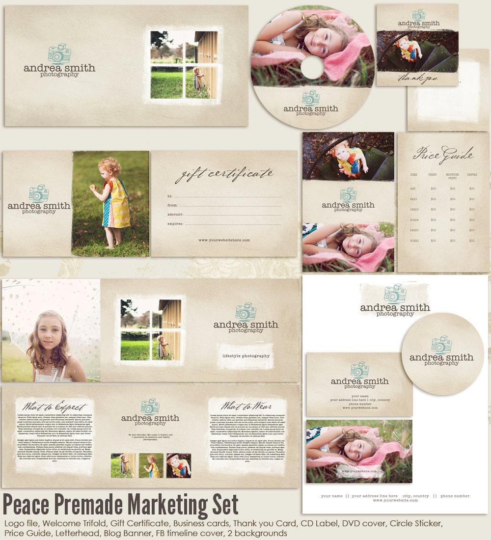 Peace premade photography marketing set templates for Photography marketing templates free