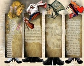 Alice in Wonderland Printable Bookmark Collage Fairytale Instant digital download