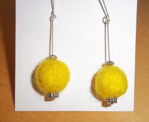 Earrings Yellow Needle Felted Handmade Eco Friendly