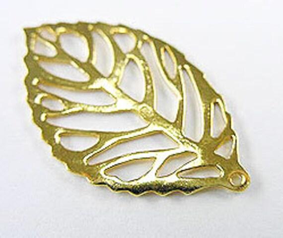 1 of 24k Vermeil Style Leaf Pendant 19x33 mm. :vm0219