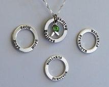 Strength- Survivor - Hope - Believe - Custom Lyme Disease, Babesia, Celiac Disease Awareness Inspirational Necklace - Sterling