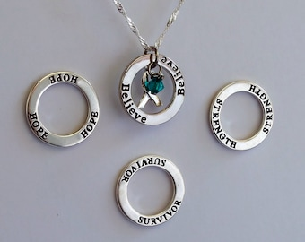 Strength- Survivor - Hope - Believe - Custom Ovarian Cancer, Scleroderma, Cervical Cancer Awareness Inspirational Necklace - Sterling