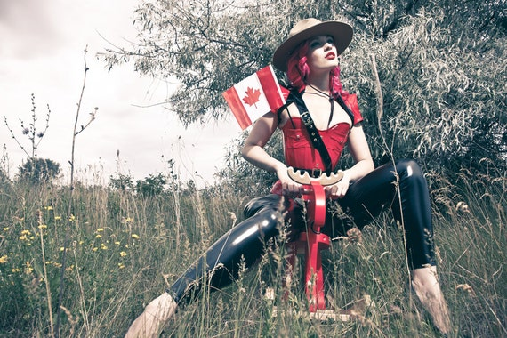 XS Mountie Shrug Red w/ black accents & gold snaps from Artifice Clothing (photoshoot sample sample)