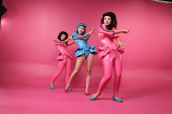 HALF PRICE L Pink PVC leggings Artifice Clothing (music video sample)