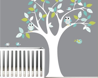 Vinyl Wall Decals Children Tree Sticker with Owls, Birdsl