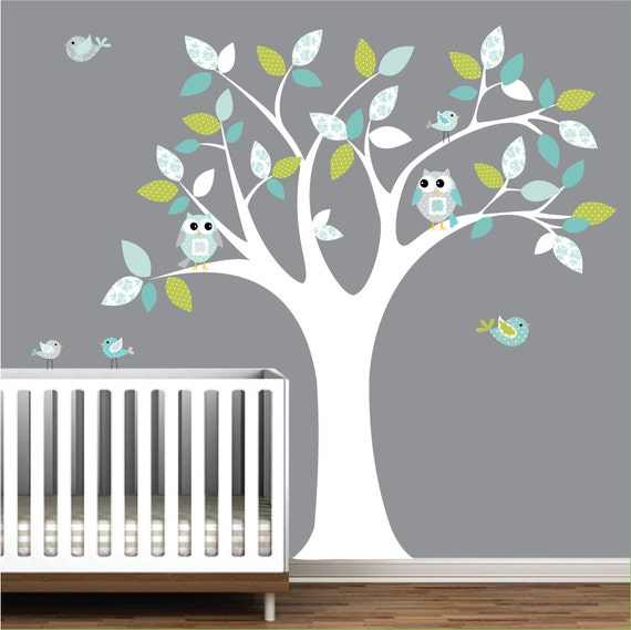 Vinyl wall decals children tree sticker with owls birds e135 for Bird and owl tree wall mural set