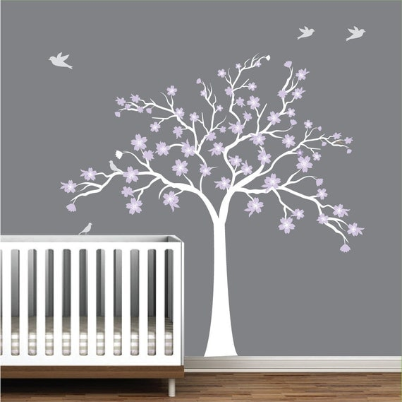 Wall decals vinyl art sticker cherry blossom tree for Cherry blossom tree wall mural