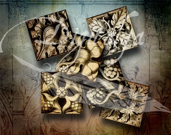 Square Gothic Rosettes (1) Digital Collage Sheet - 30 Squares 1.5 inch or 1 inch or 0.875 inch or scrabble - See Promo Offer