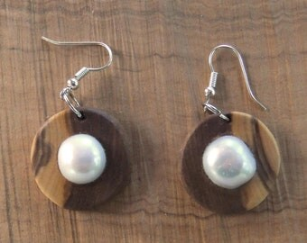 Hand carved Greek Olive wood earrings inlaid with Freshwater Pearl nuggets