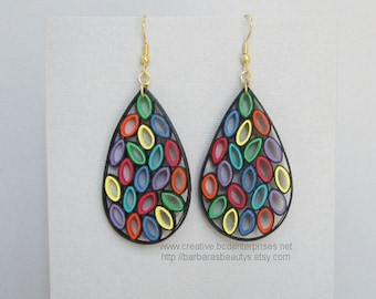 Quilling Earrings, Stained Glass Style, Large