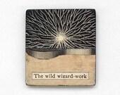 original collage art - The Wild Wizard-Work - mysterious, magic, surreal, science, fridge magnet, kitchen art