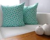Two Pillow Covers - Aqua and White Throw Pillows - Shams - Home Decor - Peppercorn Elvis
