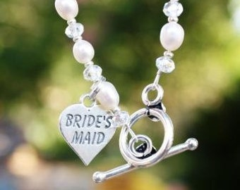 Brides Maid keepsake Bracelet in Freshwater pearls, Rondelle Crystals and Sterling Silver Charm and Toggle Clasp