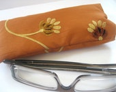 Soft Glasses Case Padded Eyeglass Sleeve- Designer Embroidered Silk in Burnt Orange