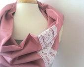 Pink Cowl Scarf - Dusty Rose with White Lace Trim -  Anthropologie Inspired Snood : Boho Hippie Chic