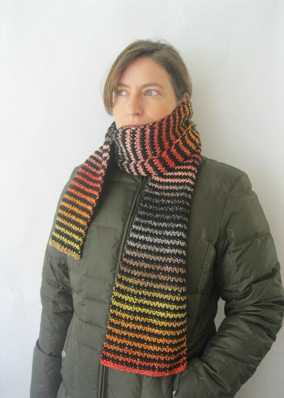 Long Striped Scarf - Handknit Wool and Silk Black Coral Red Yellow Funky Luxury Scarf Men or Women