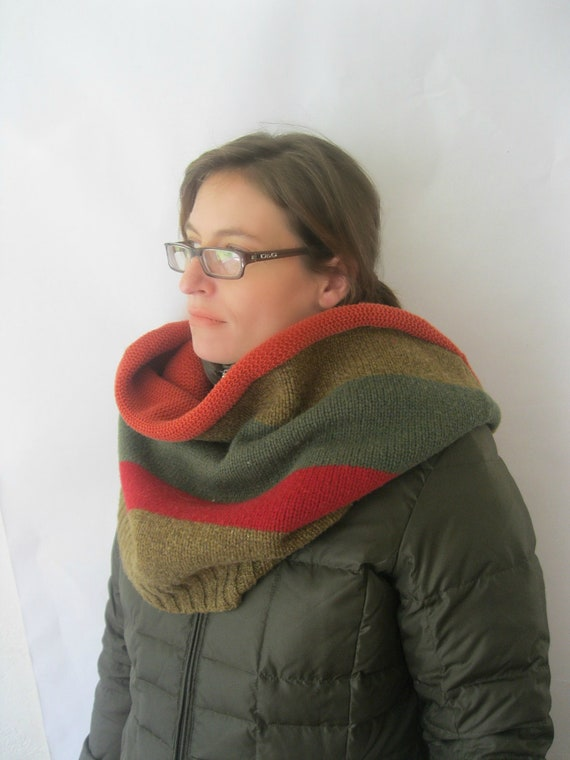 Wool Infinity Scarf Cowl - Fashion Snood - Earth Tones Green Red Orange - Unisex : Upcycled Recycled Repurposed