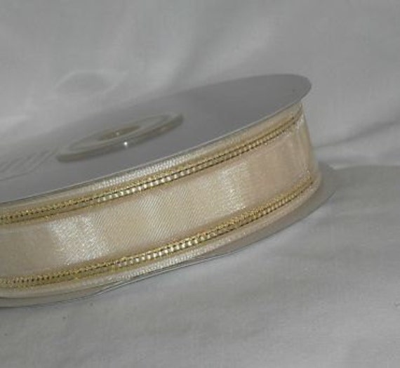 "Ivory with Gold Ribbon...7/8"" X 25 yards spool"