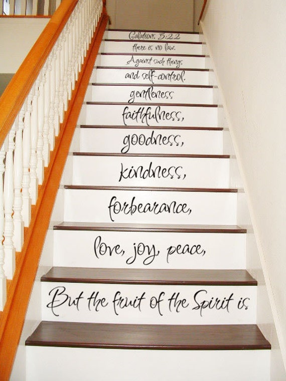 galatians 5 22 23 stair case art wall decals by villagevinepress. Black Bedroom Furniture Sets. Home Design Ideas