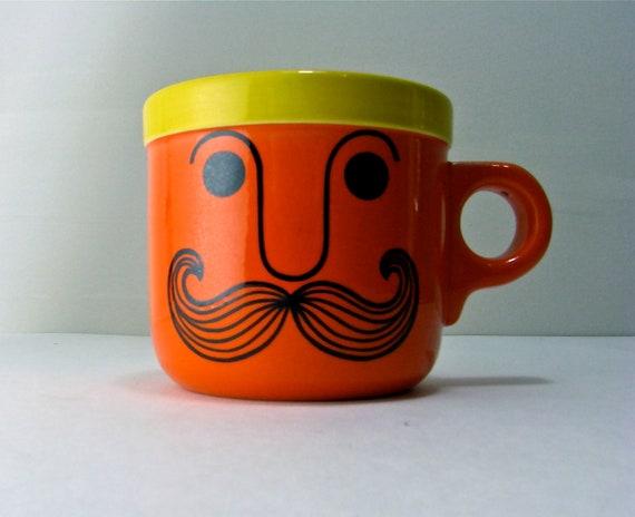 Orange Mustache Mug