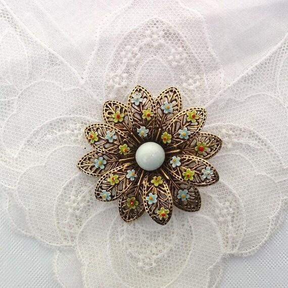 Enamel Flower Brooch, Vintage Flower Brooch, Metal Brooch, Blue Stone