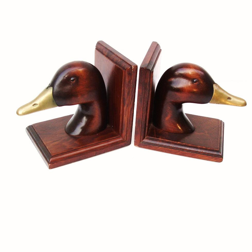Duck Bookends Wooden Duck Holder Wooden Book By