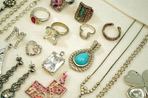 Rhinestone Costume Jewelry Lot, Rings Necklaces Pendants Bracelets Earrings, Large Jewellery Lot