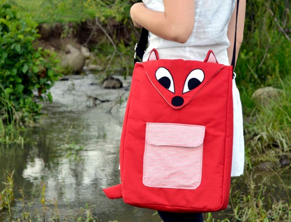 Red Fox laptop case / messenger bag- bright red with striped pocket -13, 14, 15  inch -made to order