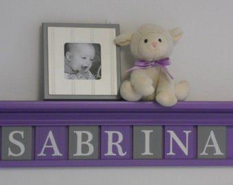Baby Girl Nursery - Grey and Purple Nursery Decor - Wooden Wall Letters on Lilac Shelf - Custom Name Shelf