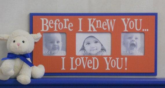 Orange Blue Nursery Photo Frame Gift for Baby Shower, Baptism, Christening Gifts Orange Blue - BEFORE I KNEW YOU...