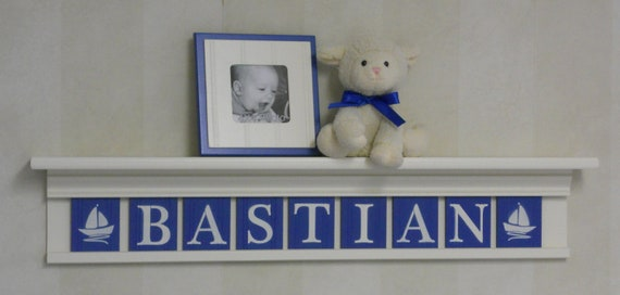 "Personalized Children Nursery Decor 36"" Linen White Shelf with 9 Letter Wooden Tiles in Blue - BASTIAN with Sailboats"