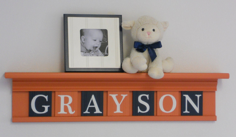 orange and navy baby boy nursery wall decor custom name. Black Bedroom Furniture Sets. Home Design Ideas