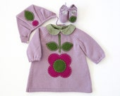 knitted baby dress, cap and shoes with felt flower, lilac. 100% wool. Newborn.