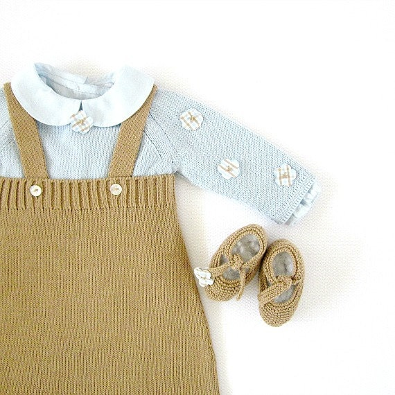 A knitted baby skirt and sweater in camel and soft blue. 100% cotton. READY TO SHIP size newborn.