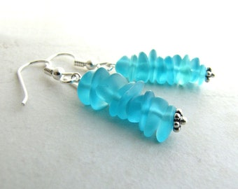 Sea Glass Seaglass Earrings Aqua Turquoise Carribean BellinaCreations Bellina Creation