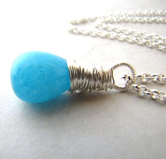 Jade Necklace, Aqua Necklace, Gemstone Necklace, Beach Necklace, Ocean Necklace, Wire Wrapped Necklace, Crystal Necklace