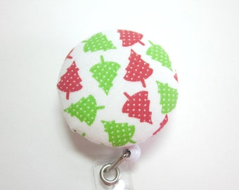 Christmas Tree ID Holder Badge Reel Covered Button