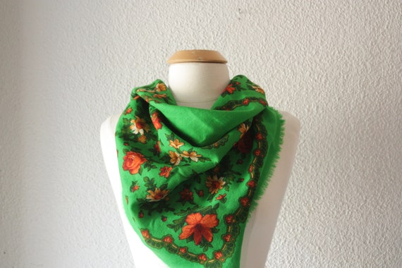 Large Green and Floral Scarf with Fringed Edging