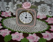 Lead Crystal Clock Embellished with Pink Pearls and a Handmade Pink  Rolled Ribbon Rose