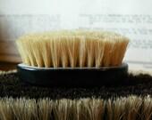 Tiny Vintage Black Bakelite Nail Brush with Blond Bristles