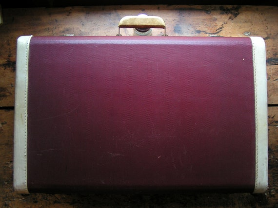 Vintage Large Red Suitcase with White Trim