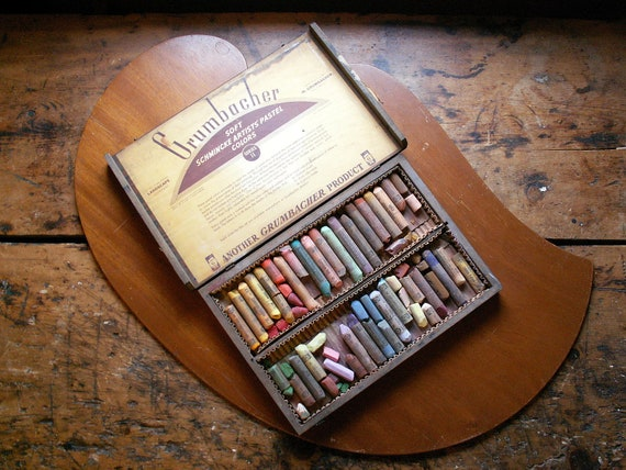 Vintage Wood Box Of Grumbacher Artist Pastel Chalk