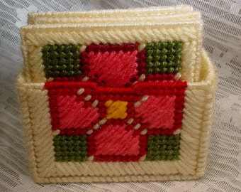 Vintage Needlepoint Plastic Canvas Coaster Set