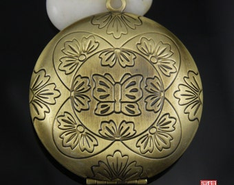 Large Brass Round Locket Charm-LC001