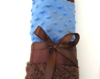 """Infant """"Cuddle"""" Blanket - Cobalt Blue and Chocolate Brown Minky with Satin Binding"""