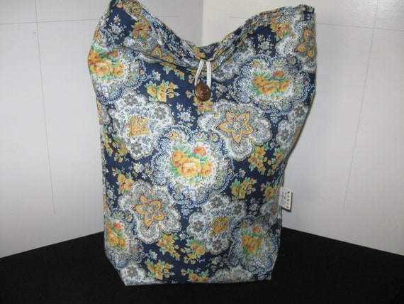 Go Green Extra Large Insulated Blue & Yellow Floral Print Lunchbag with Same Print inside All Cotton Reusable lunchbag or lunch sack